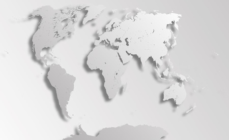 Very detailed political map of the world with paper cut effect. Map consists of separate objects - countries. Each country can be processed separately - eg, resize and recolor or used in another project as an independent object. Illustration