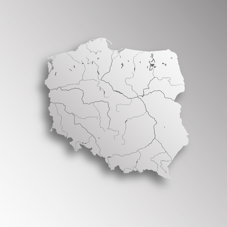 Polonia: Very detailed map of Poland with paper cut effect. Rivers are shown.