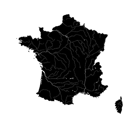 france: Outline map of France with rivers.