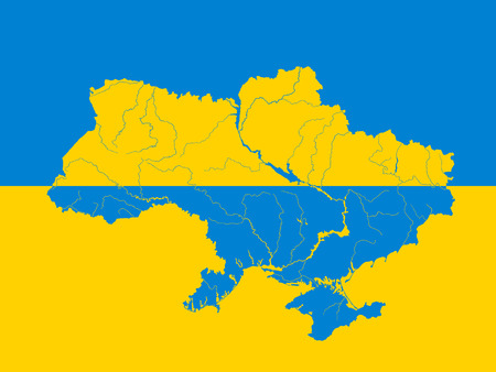 ukrainian flag: Map of Ukraine on the Ukrainian flag. Colors of flag are proper. Rivers are shown. Illustration