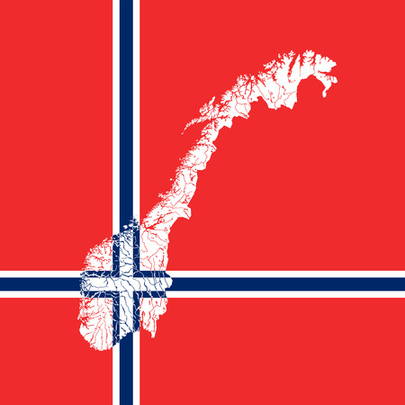 norwegian flag: Map of Norway in colors of the Norwegian flag. Colors of flag are proper. Rivers and lakes are shown.