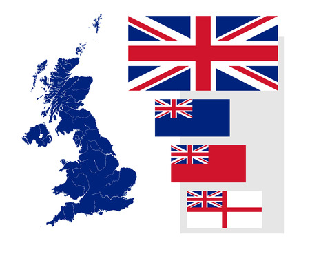 scotland: Map of the United Kingdom with rivers and four British flags - national flag, state ensign, civil ensign and naval ensign. Flags has a proper design, proportion and colors. Illustration