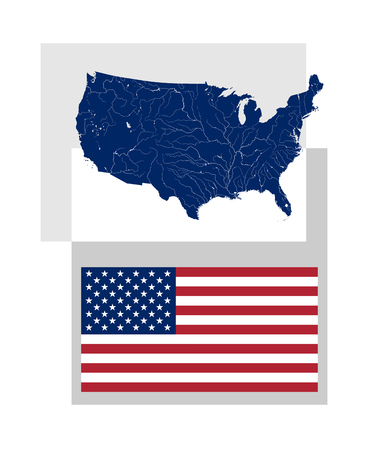 proper: Map of the United States of America with rivers and lakes and National flag and ensign of the USA. Proper design and colors. Rivers are shown. Vettoriali