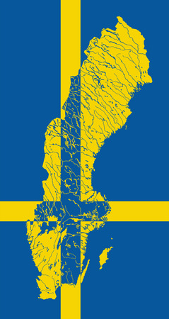 scandinavia: Map of Sweden in colors of the Swedish flag. Colors of flag are proper. Rivers and lakes are shown. Illustration