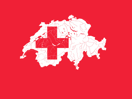 swiss flag: Very detailed outline map of Switzerland in colors of the Swiss flag. Colors of flag are proper. Rivers and lakes are shown.