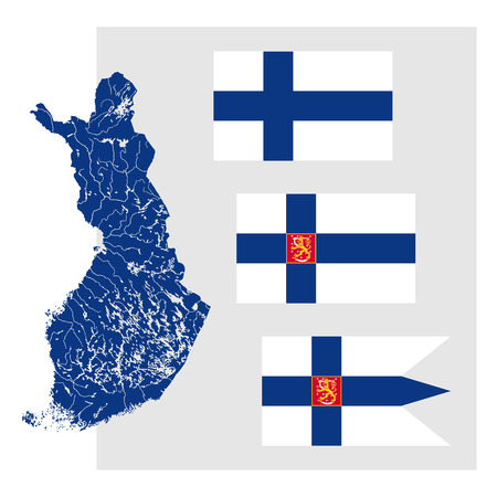 finland flag: Very detailed map of Finland with lakes and rivers and three Finnish flags - National flag (Civil flag and ensign, rectangle), The State flag (State flag and ensign, rectangle) and The flag of the Defence Forces (War flag and naval ensign, swallowtail). F Illustration