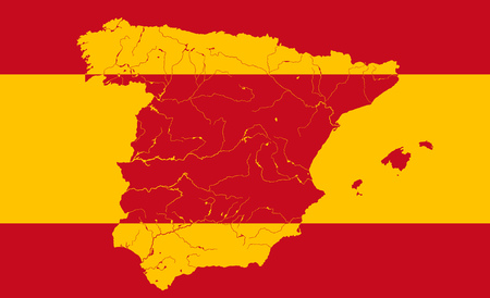 spanish flag: Map of Spain in colors of the Spanish flag. Colors of flag are proper. Rivers are shown.