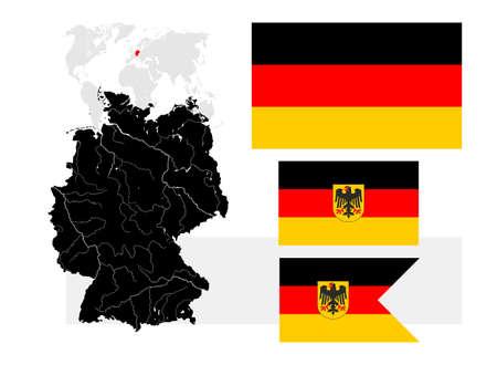 wojenne: Bardzo szczegółowa mapa Niemiec z jezior i rzek i trzech niemieckich flag - Bundesflagge und Handelsflagge (Obywatelskich i flagi państwowej, chorąży cywilnego, prostokąt), Bundesdienstflagge und Kriegsflagge (państwa bandery i chorąży, flaga wojny, prostokąt) i Seekriegsflag