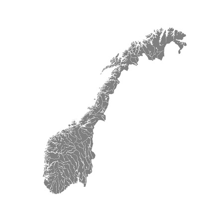 northern: Map of Norway with rivers and lakes. Illustration