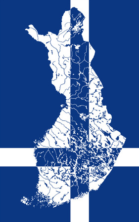 suomi: Map of Finland in colors of the Finnish flag. Colors of flag are proper. Rivers and lakes are shown. Illustration