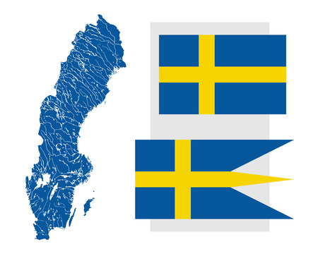 ensign: Very detailed map of Sweden in colors of the Swedish flag with lakes rivers and two Swedish flags - Civil and state flag and War flag and naval ensign. Flags has a proper design, proportion and colors.