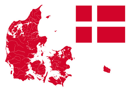Civil and state flag of Denmark and very detailed outline map of Denmark in colors of the Danish flag. Colors and proportions 28:37 of flag are proper. Rivers and lakes are shown.