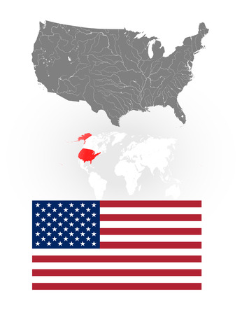 ensign: Map of the United States of America with lakes and rivers, location of US on the world map and National flag and ensign of the USA. Flag has a proper design and colors. Illustration
