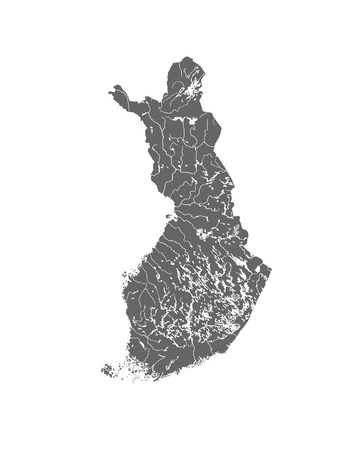 suomi: Map of Finland with rivers and lakes.