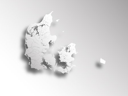 danmark: Map of Denmark with paper cut effect. Rivers and lakes are shown.