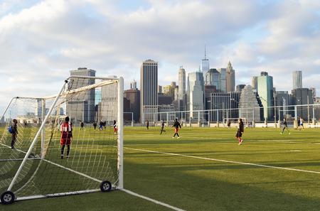 brooklyn bridge: Sunday soccer in the Brooklyn Bridge Park.