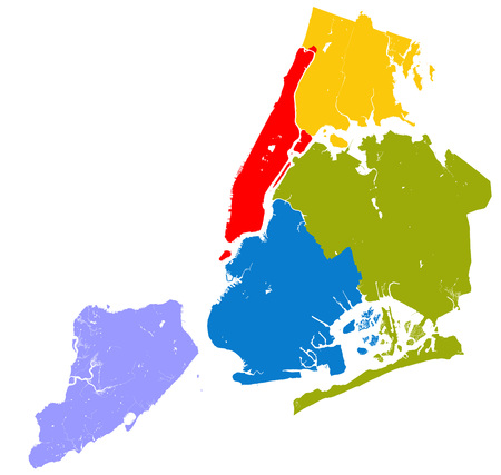 state boundary: High resolution outline map of New York City with NYC boroughs. Each boroughs placed on a separate layer.