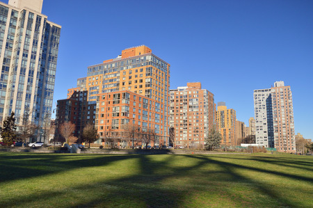 roosevelt: Residential district in Roosevelt Island, New York City. Stock Photo