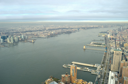 west river: Aerial view of Hudson River with West Side of Manhattan and Jersey City. Stock Photo