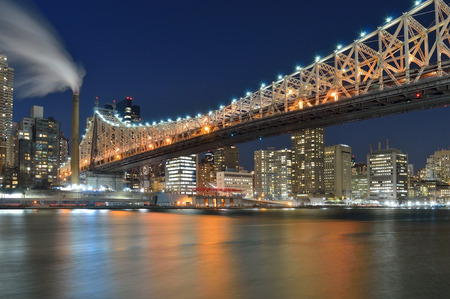 A night view of the Queensboro Bridge from the Roosevelt Island.