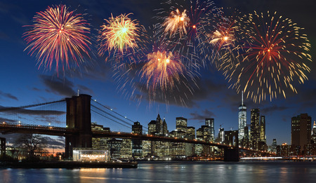 Fireworks over Manhattan, New York City. Standard-Bild