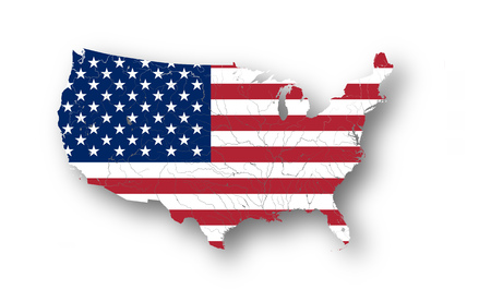 Map of the United States of America with American flag. Colors of flag are proper. Rivers and lakes are shown.