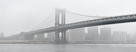 manhattan bridge: Manhattan Bridge in a foggy day.