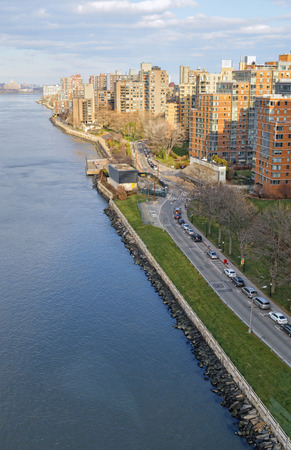 roosevelt: View of East River from the Roosevelt Island Tramway.