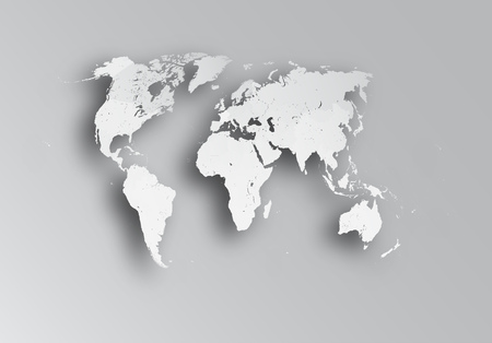 eg: Very detailed political map of the world with paper cut effect. Map consists of separate objects - countries. Each country can be processed separately - eg, resize and recolor or used in another project as an independent object. Illustration