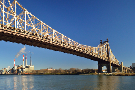 Queensboro Bridge and Ravenswood Generating Station. View from the Roosevelt Island.