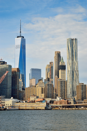 View of the Manhattan at sunny day. Stock Photo