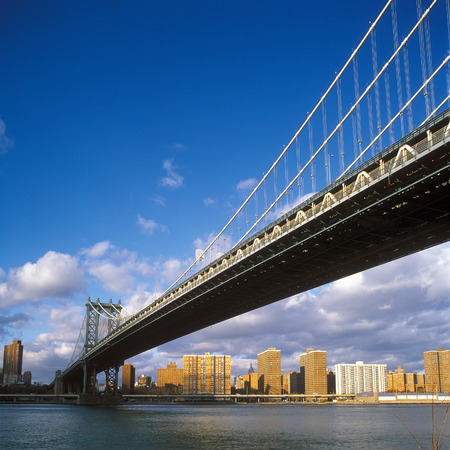manhattan bridge: View of the Manhattan Bridge at sunny day. Stock Photo