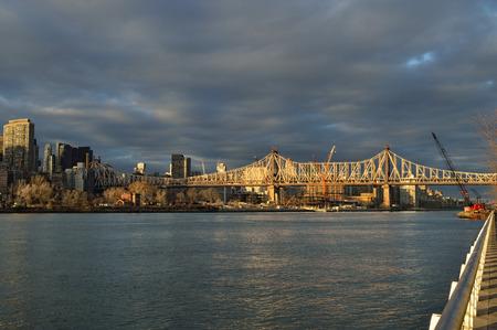 queensboro bridge: Sunset view of the Queensboro Bridge from the Roosevelt Island. Stock Photo