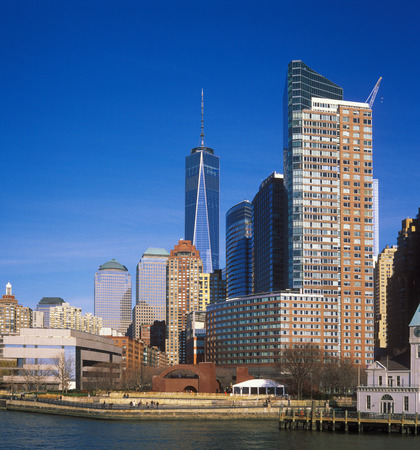 View of buildings of Manhattan from the Hudson River. Editorial