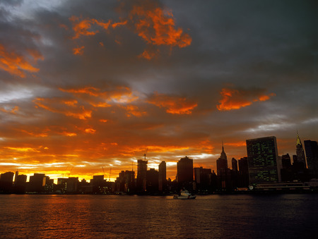 Beautiful sunset over a Manhattan. Stock Photo
