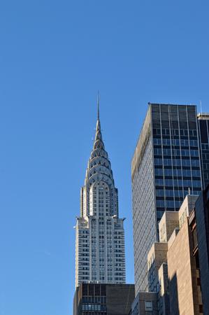 Chrysler Building against a clear blue sky.