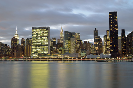 A twilight view of the Manhattan skyline. Stock Photo