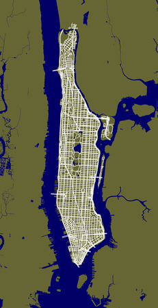 Fragment of New York City outline map with streets of Manhattan. 矢量图像