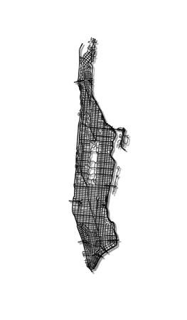 Streets of Manhattan - outline map. 矢量图像