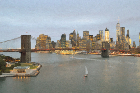 Manhattan skyline with Brooklyn Bridge at evening - oil paint style image.