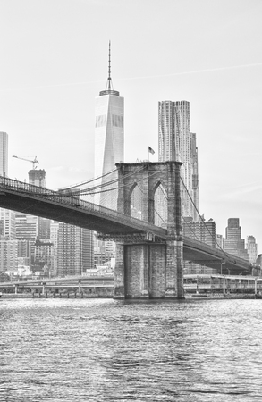 View of the Brooklyn Bridge and Freedom Tower.