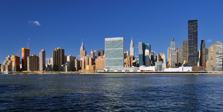 Panoramic view of the Midtown Manhattan at sunny day. Stock Photo