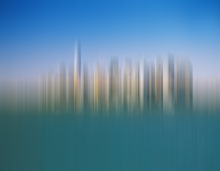 Abstract background from blurred Manhattan skyline.