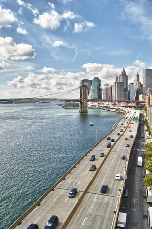 FDR Drive and Brooklyn Bridge at sunny day - HDR image.