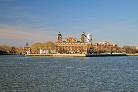 View of Ellis Island at sunny day.