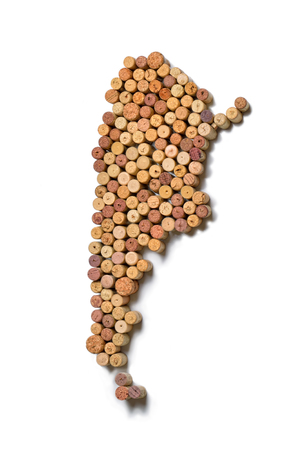 Wine-producing countries - maps from wine corks. Map of Argentina on white background.