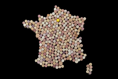 Wine-producing countries - maps from wine corks. Map of France on black background. Clipping path included.