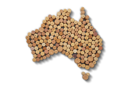 Wine-producing countries - maps from wine corks. Map of Australia on white background