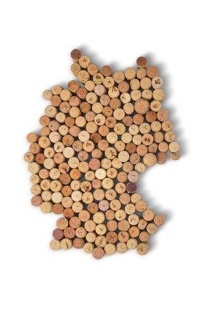 Wine-producing countries - maps from wine corks. Map of Germany on white background. Clipping path included.