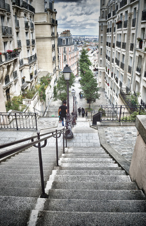 HDR view of the staircase of Montmartre. Фото со стока